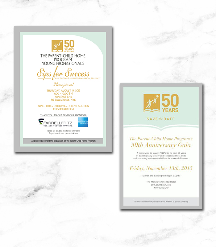 Parent Child Home Program (PCHP) - Email blast gala event fliers |  Art Direction & Design